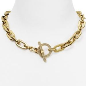 Michael Kors Gold Chain Link Pave Toggle Necklace